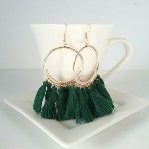 Green & Gold Light Weight Tassel Earrings